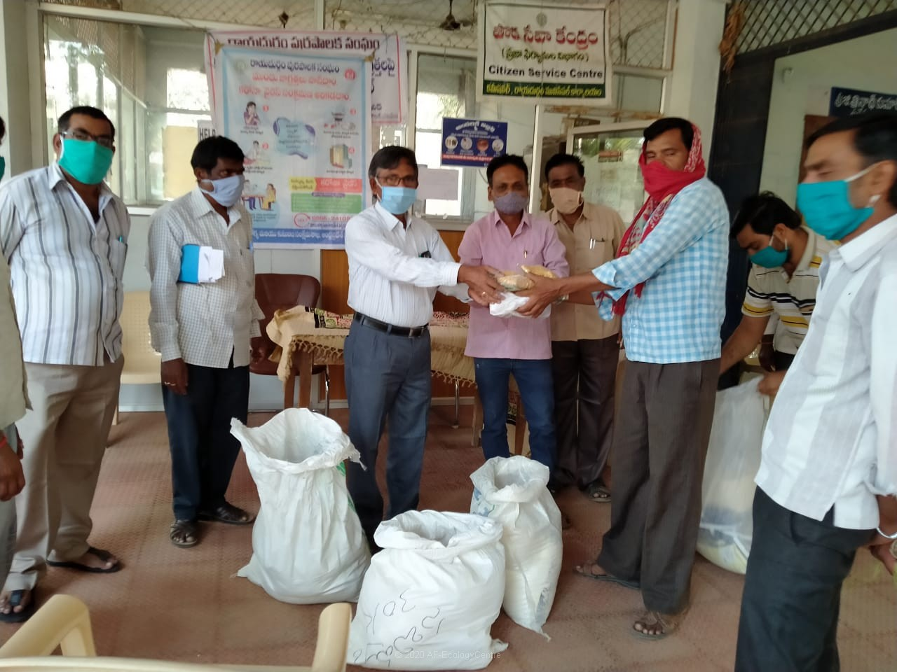 Distribution of rations to 4 families of migrant workers at Rayadurg town during Covid-19